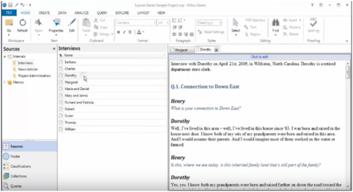 Nvivo's interface is especially designed to provide the detail view of interviews for qualitative analysis
