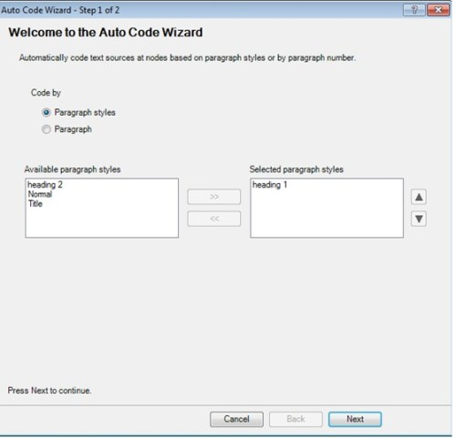 Choose Paragraph Style in Auto-Coding Welcome Wizard in Nvivo