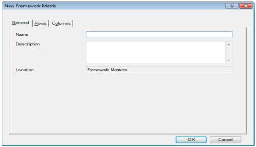 "Dialogue box of ""New Framework Matrices"""
