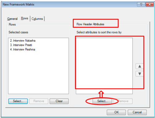 Figure 6 To Add Attribute in Row Header in New Framework Matrices Dialogue Box