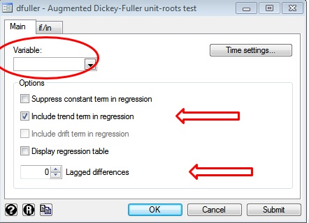 Figure 8: Performing Augmented Dickey Fuller test for time series analysis in STATA