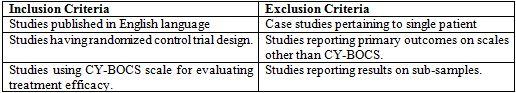 Inclusion and exclusion criteria