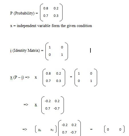 Mathematical steady state calculations