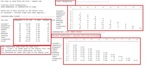 Figure 7: Step 7 of joint frequencies analysis using Hamlet II