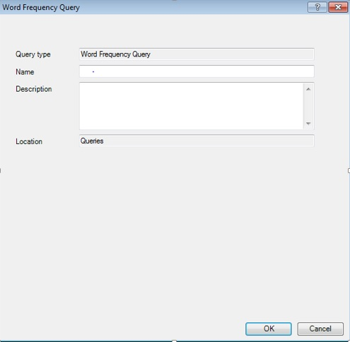 Figure 16: Dialogue Box for adding word frequency search query to project