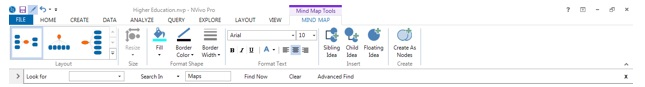 Figure 2: Additional mind map tools in Nvivo