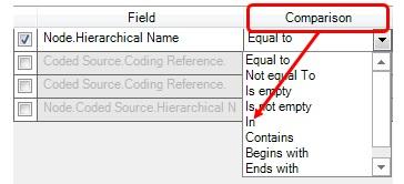 Figure 19: Comparison options for filter