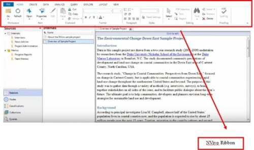 ribbon is a useful tool in Nvivo workspace