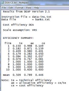 Efficiency Summary result