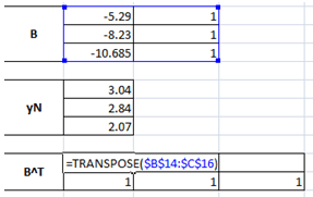 Transposing of matrix B