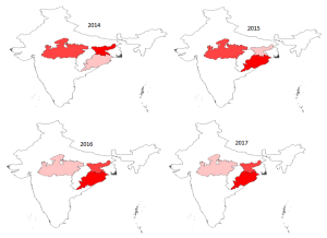 Prevalence of Plasmodium vivax in four states of India from year 2014-2017