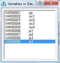 Variables in Dataset