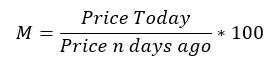 Momentum analysis formula to understand the dynamic behavior of investors