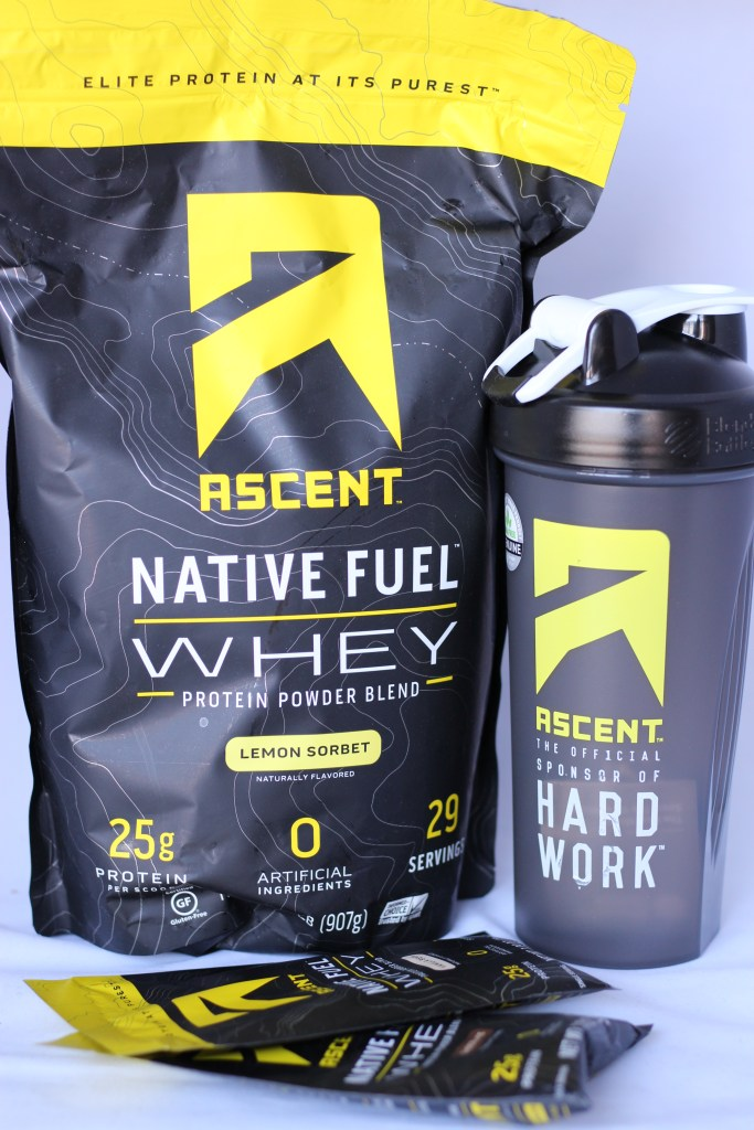 ascent whey protein lemon sorbet national yoga month