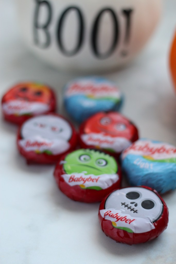 mini babybel cheese halloween mummy themed face recipe