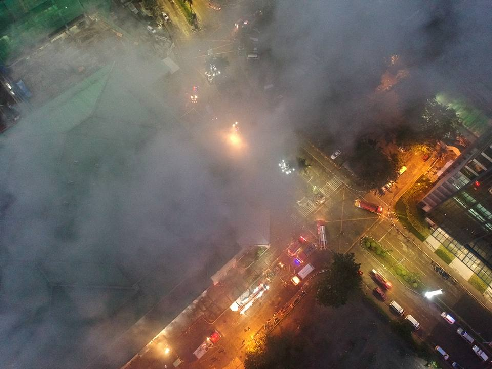 PHOTOS: Fire at Metro Ayala Center Cebu Aerial View