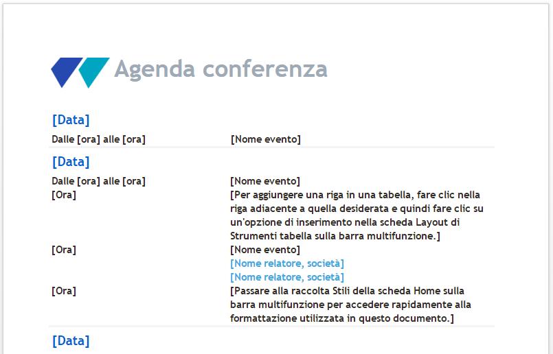 Agenda conferenza su Word