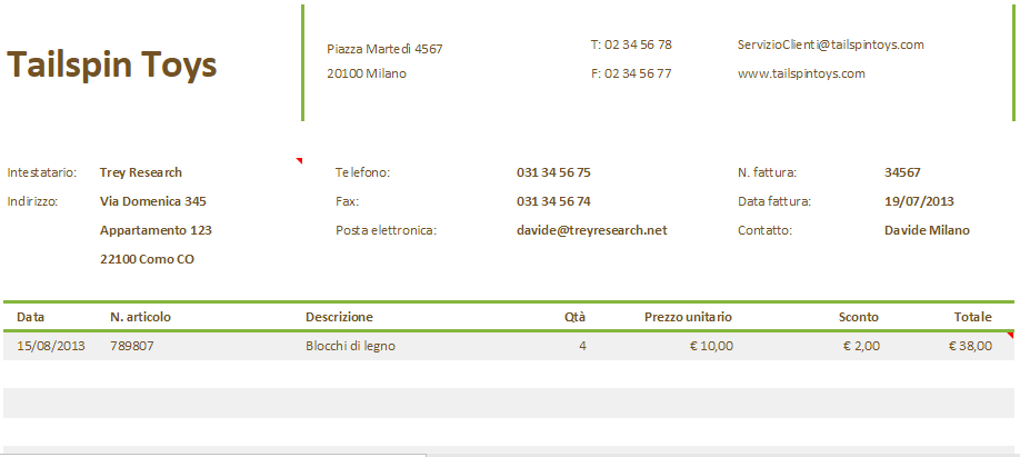 Fattura Commerciale su Excel Online
