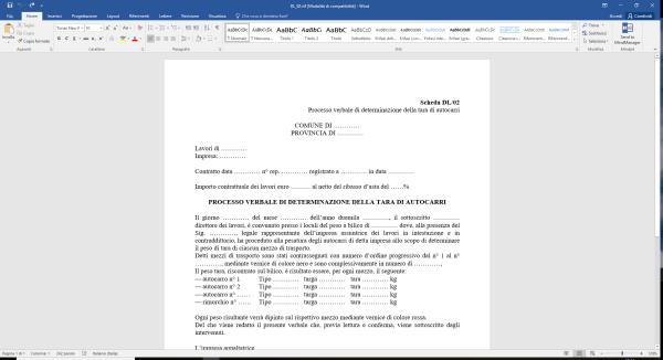 Scheda DL02 Processo verbale di determinazione della tara di autocarri