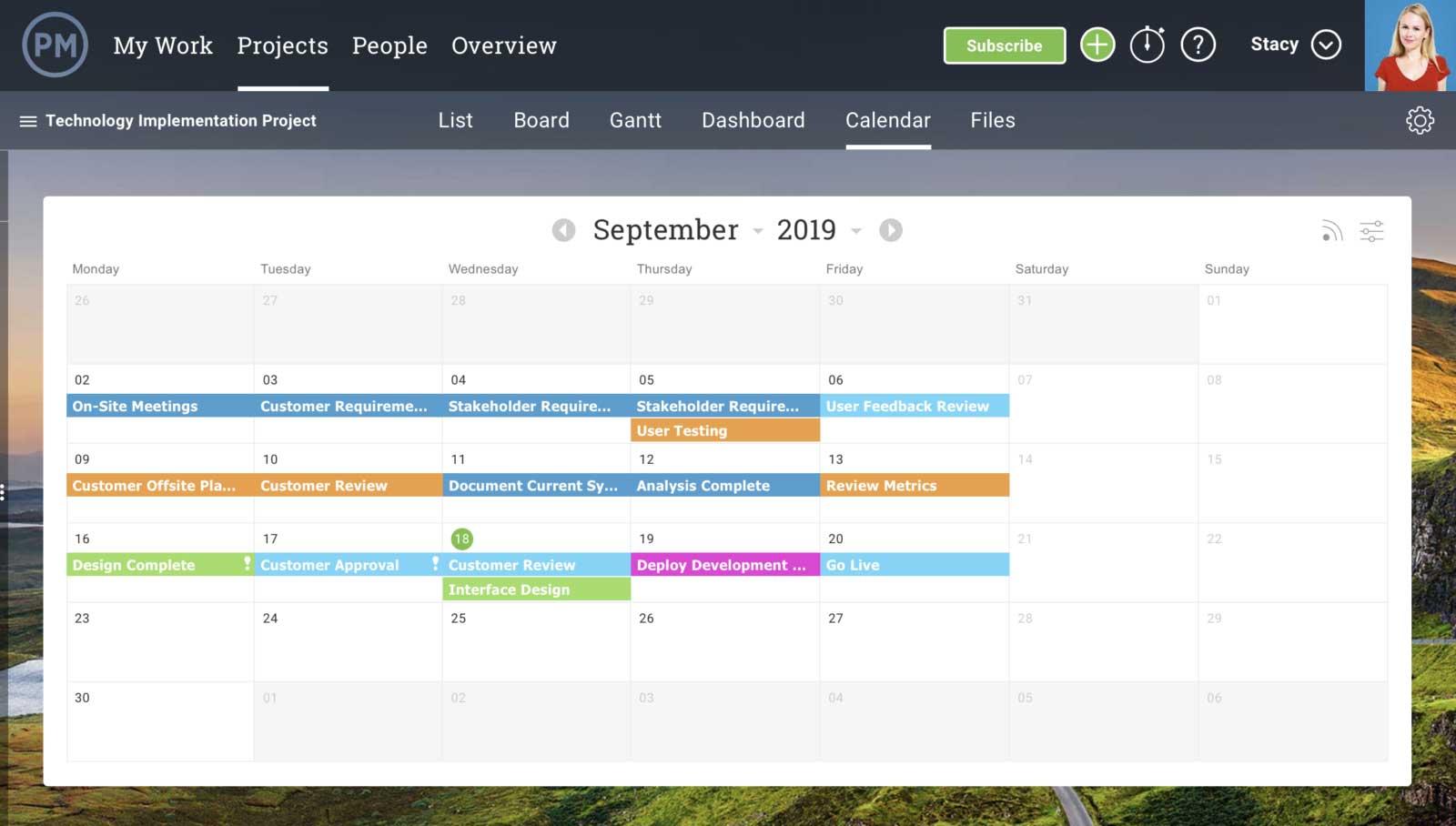 vista de calendario para hacer un plan de comunicación