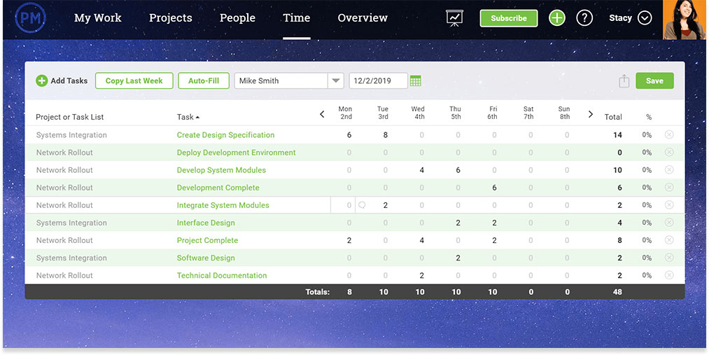 captura de pantalla de la hoja de tiempo en ProjectManager.com