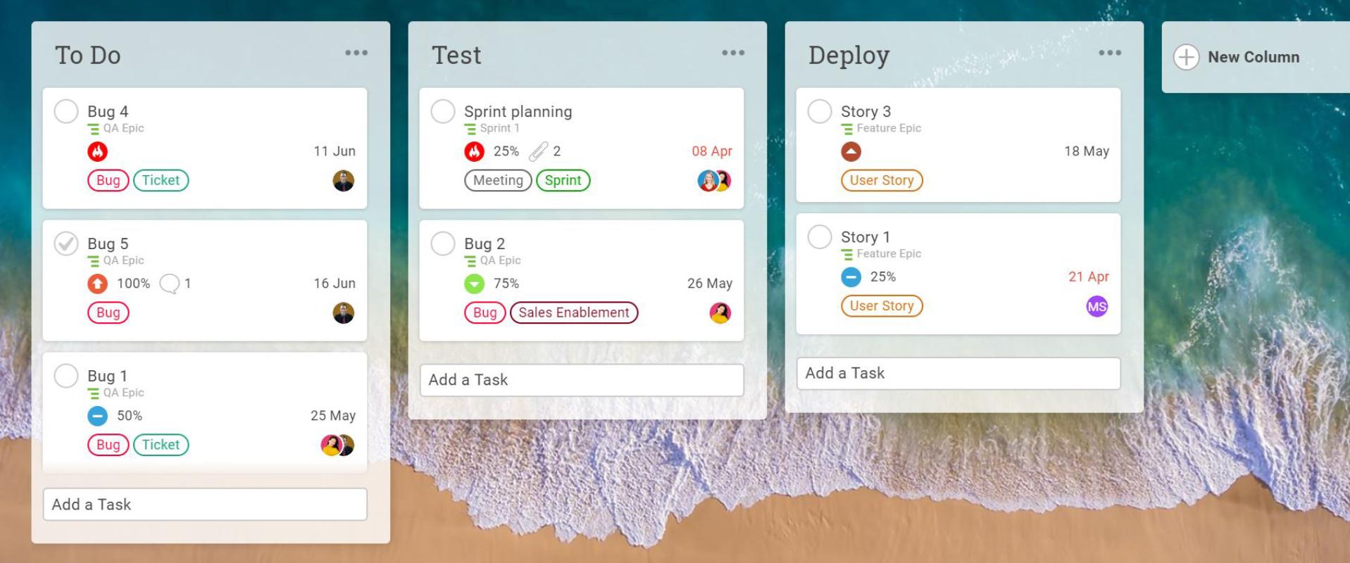 Columnas personalizadas en un tablero Kanban en ProjectManager.com