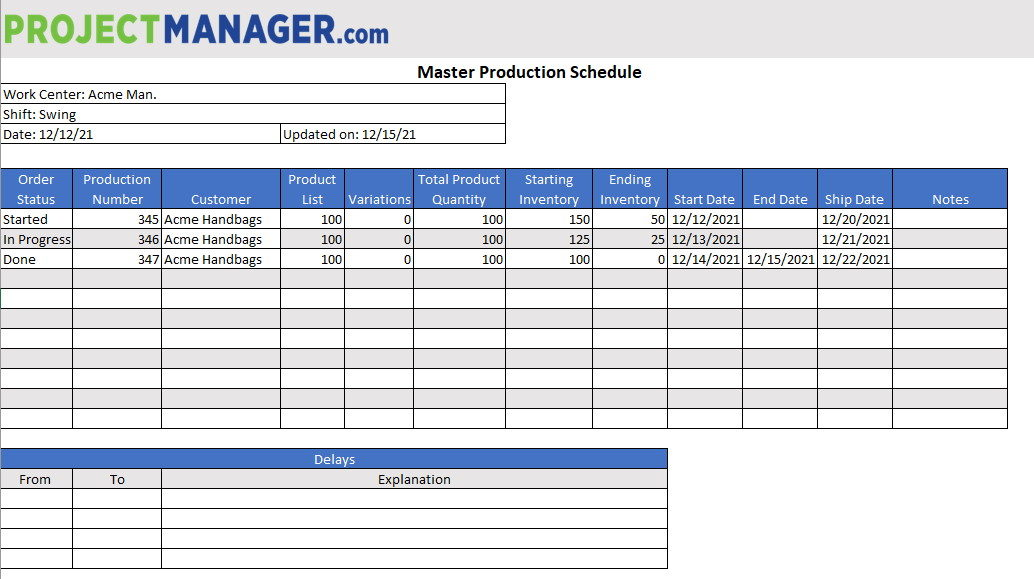 To tell the truth, accomplishing your goals, either you are a student or manager, all is now possible with the help of. Production Schedule Template For Excel Free Download