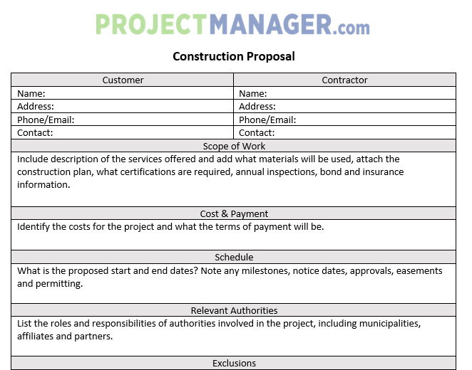 You can even easily swap in your log! Construction Proposal Template For Word Free Download