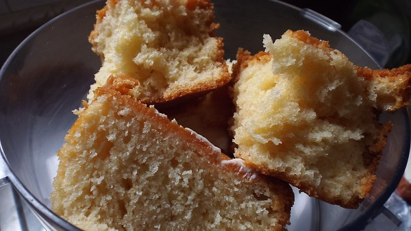 Put plain pound cake in the food processor.