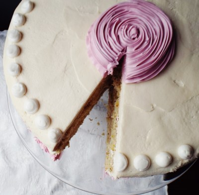 Pistachio Cake With Rose Water Buttercream
