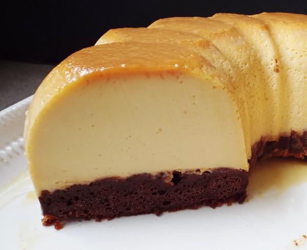 Chocolate Cake With Flan On Top