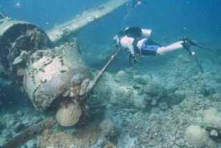 Scuba diving the Jake, japanese war plane, in palau with bentprop.org