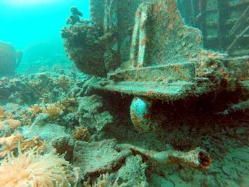 Pieces of a Corsair underwater in palau
