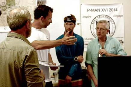 bentprop team discussing possible crash scenarios of the TBM Avenger they found in palau