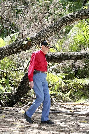 R.V.'s Burgin's first steps on Orange Beach since the pacific war in Palau