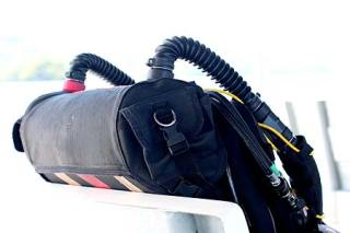 Bill's rebreather underwater system.