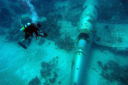 Shannon Scott diver - surveying an underwater aircraft