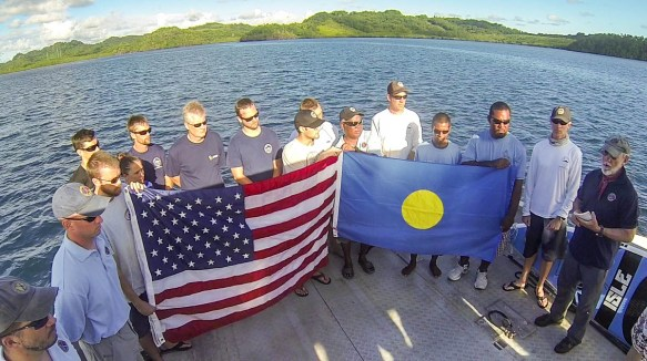 """2014 Palau TBM Avenger Flag Ceremony in Palau during the The Repatriation of Albert P. """"Bud"""" Rybarczyk"""