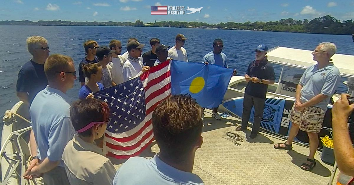Lt. William Q. Punnell Flag ceremony over his airplane wreck in Palau. Project Recover is committed to bringing the MIA home.