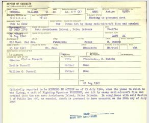 Casualty Report for William Punnell, 1945