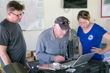 Dan, Megan, Bill, looking at sonar on computer - Hells Point - Honiara EOD - Nose gunners view Japanese WWII bomber - Vilu War Museum - Honiara - while looking to find Solomon Islands MIAs - Project Recover and BentProp Project are committed to bringing the MIA home. Photos by Harry Parker Photography.com
