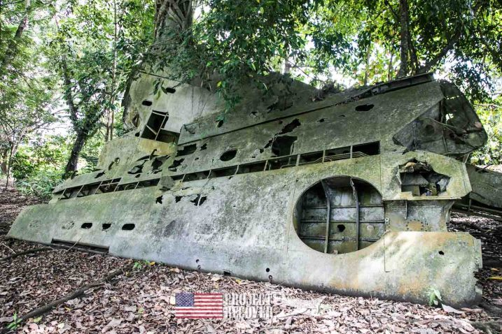 WWII airplane wings in the jungle - Vilu War Museum - Honiara - Nose gunners view Japanese WWII bomber - Vilu War Museum - Honiara - while looking to find Solomon Islands MIAs - Project Recover and BentProp Project are committed to bringing the MIA home. Photos by Harry Parker Photography.com