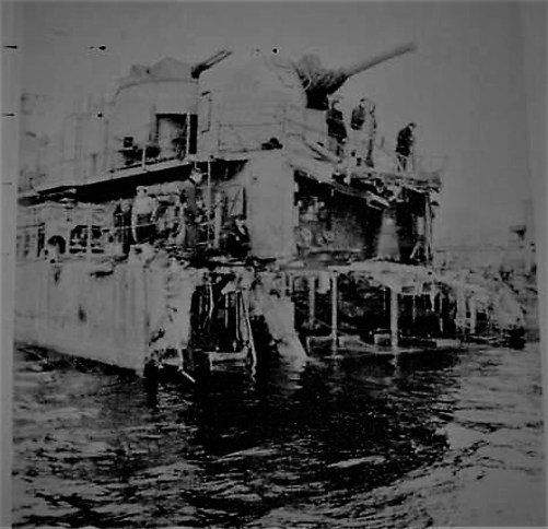 USS Abner Read AUG 20, 1943 after mine damage