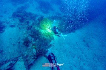 top view of harry parker filming underwater B24 WWII aircraft wreck during Solomons MIA Search - Project Recover and BentProp Project are committed to bringing the MIA home. Photos by Ewan Stevenson WWW.ARCHAEHISTORIA.ORG