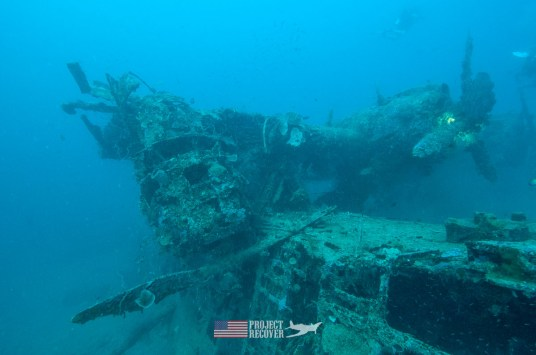 A Mavis Japanese flying boat underwater WWII wreck during Solomons MIA Search - Project Recover and BentProp Project are committed to bringing the MIA home. Photos by Harry Parker Photography.com