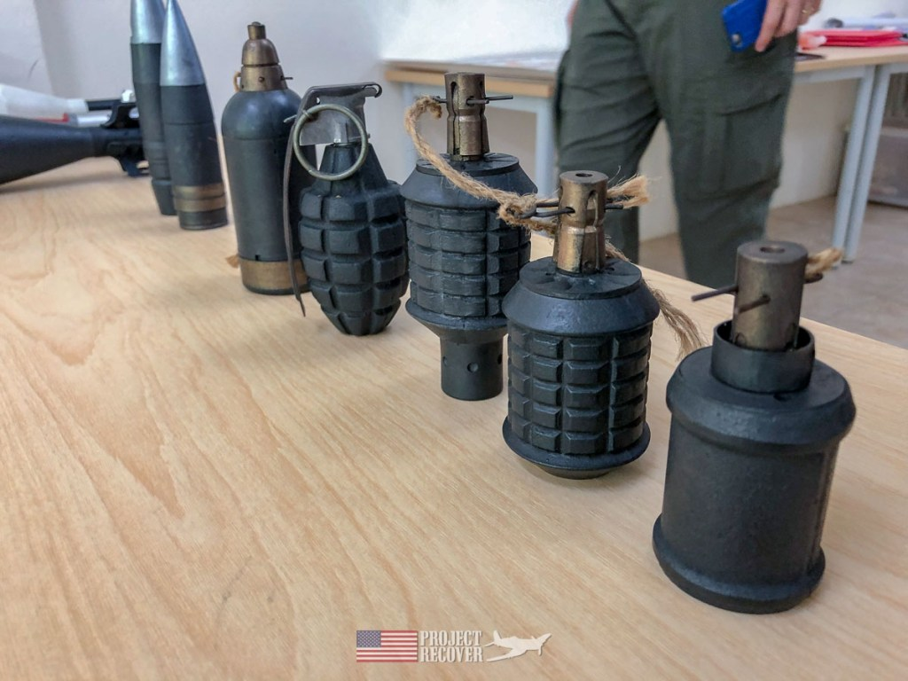 'Dummy'WWII grenades used for training at Cleared Ground Demining in Peleliu. Visitors are forbidden to touch, handle, or remove UXO.