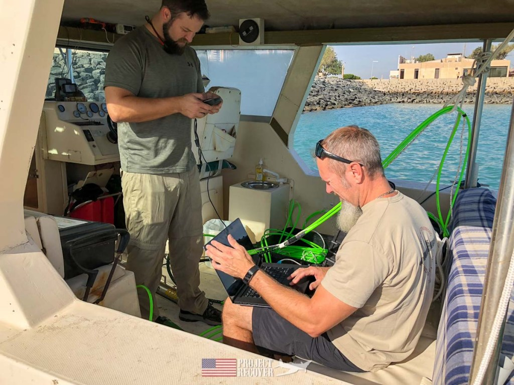 Project Recover team sets up equipment for search for A-6E wreckage. Photo Credit: UDEL/Project Recover