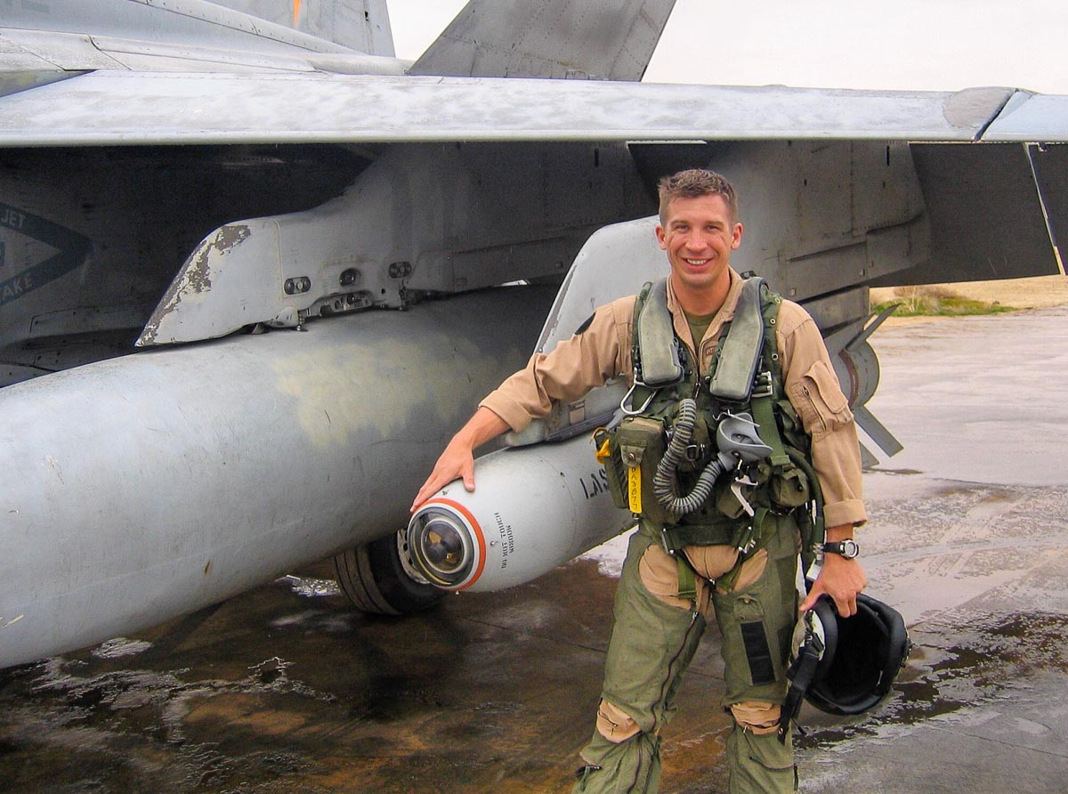 Marine Derek Abbey with F-18