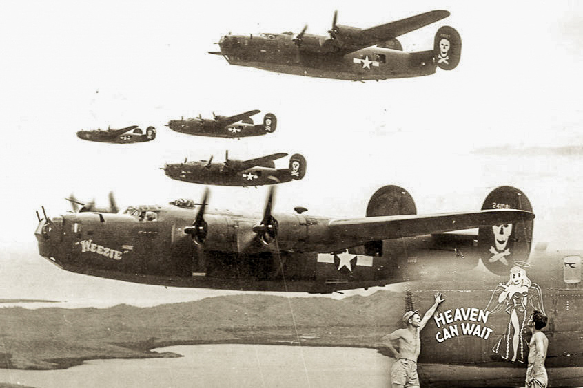 Jolly Rogers B-24 aircraft Bomber Group flying in formation