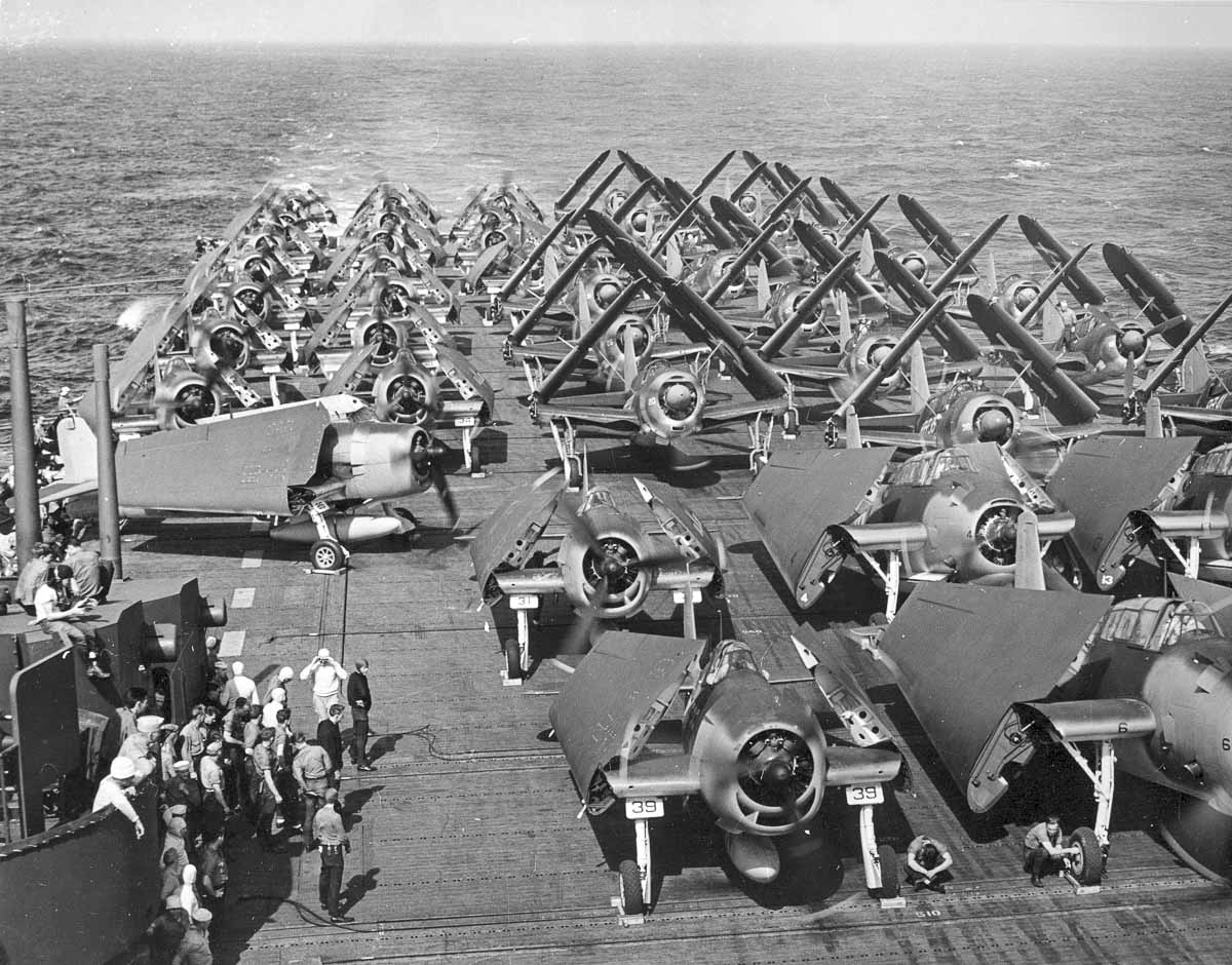 WWII aircraft in Chuuk aboard the USS Intrepid, 1944